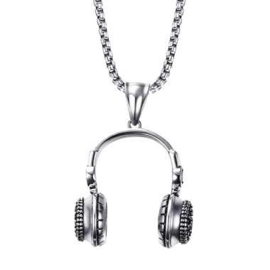 harga Unisex's Men Stainless Steel Earphone Headphone Shape Pendant Necklace Chain Blibli.com
