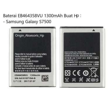 harga Original Baterai EB464358VU Buat Handphone Samsung Galaxy S7500 Blibli.com
