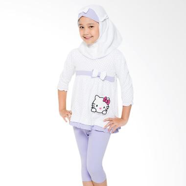 4 You Set Hijab Blouse and Pants Anak - Ungu