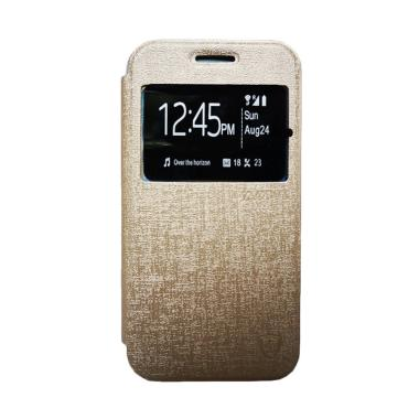 Zagbox Flip Cover Casing for Samsung Galaxy A3 A310 2016 - Gold