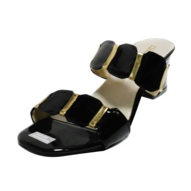 EFATA Glossy Hak Tahu US01 Sandal Heels - Hitam Gold 792ef19135