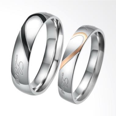 CDHJewelry CC003 Cincin Couple Titanium Anti Karat [Female 5 & Male 8]