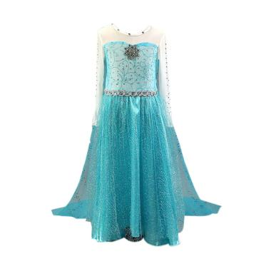 Frozen Baju Kostum Princess Elsa Dress Anak/ Gaun Pesta Anak - Blue