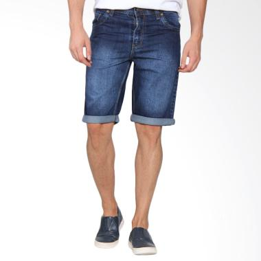 Papercut Men Brixton Short Denim Full Spray Celana Pendek Pria - Blue