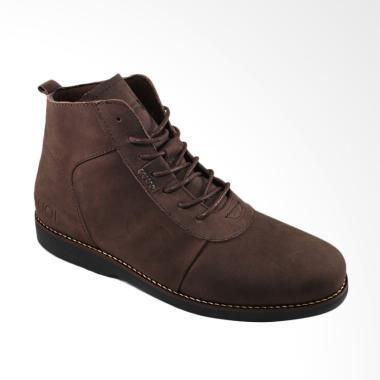 Sauqi Footwear Brodo Kulit Sapi Sepatu Boots Pria - Cokelat