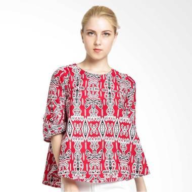 FBW Venezia Flutted Sleeve Batik Blouse - Putih Merah