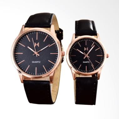 BONICO 2984B-GL-RGB Black Leather Strap Jam Tangan Couple - Black Gold