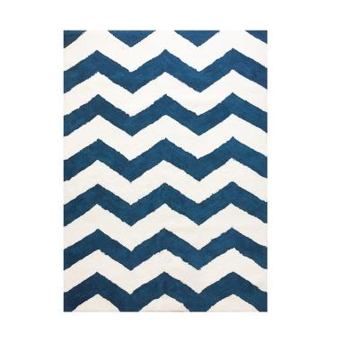 Vision Soft Shaggy Chevron Karpet - Blue White [180 x 270 cm]