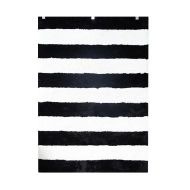 Vision Soft Shaggy Stripes Karpet - Black White [160 x 220 cm]
