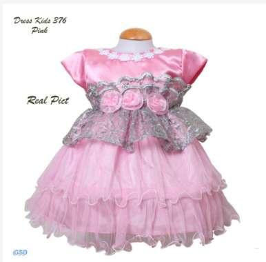 harga Dress 376 Brukat Gliter Kombi Saten Mengkilat Untuk Anak Balita 1th Foto Realpict Ready 3 Warna Soft Pink Blibli.com