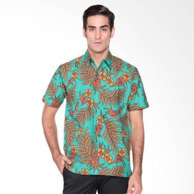 Batik Waskito Short Sleeve Silk Shirt Kemeja Batik Pria - Green