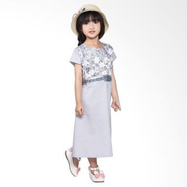 harga Versail S7329 Kids Junior Kombinasi Bunga Brukat Dress - Gray 6 Blibli.com