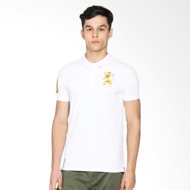Giordano Lion Embroidery Polo Signature Atasan Pria - White