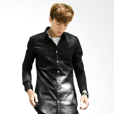 HITO Basic Long Sleeve Shirt Kemeja Pria - Black