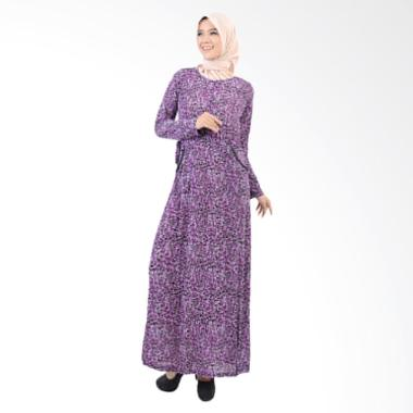 Jfashion Long Dress Gamis Maxi Variasi Seleting Depan - Shavana Ungu