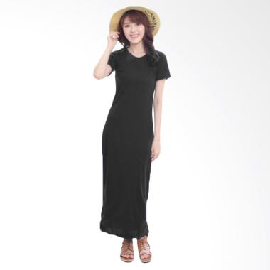 JCFASHION Elsa Plain Long Dress Wanita - Misty Black