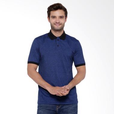 BLVNKSHIRT Kaos Kerah Cotton Costa Polo Shirt Pria - Biru Tua