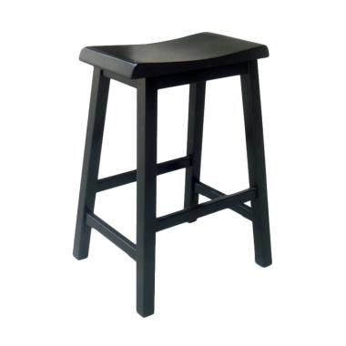 MOMO Diy Shorea Wood Bar Stool - Black [24 Inch]