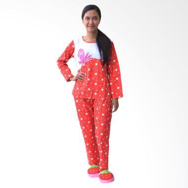Aily 1052 Lengan Panjang Setelan Baju Tidur Wanita - Merah