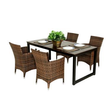 Pine Rotan Furniture 002 Set Kursi Meja Makan