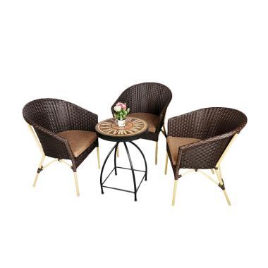 Pine Rotan Furniture 001 Set Kursi dan Meja Teras - Dark Brown