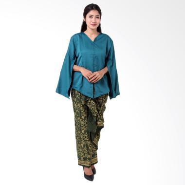 Batik Distro BA8768 Kaftan Setelan Pakaian Wanita - Biru