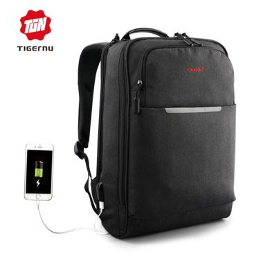 harga Tigernu Original Premium T-B3305 Waterproof Anti-Theft Slim Leisure Backpack Laptop Bag 14.1 Inch with USB Charging Port - Black Blibli.com