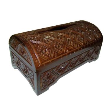 Ngasem Kerajinan Kayu Jati Batik Oval Tempat Tisu - Solid Brown