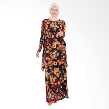 Jfashion Nabilah Corak Bunga Long D ... an Panjang Gamis - Orange