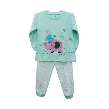 Gracie 04 Motif Elephant Funny Baju Tidur Anak Perempuan - Hijau Tosca
