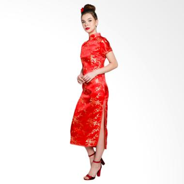Papercut Katty Amapola Flower Cheongsam Long Dress - Red Gold