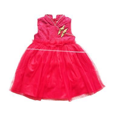 Flower Kids Cheongsam Tutu Dress Anak - Red List Gold