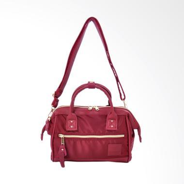 Anello 2 Way Shoulder Bag Mini Size PU Leather X Nylon AT-H1241 - Wine