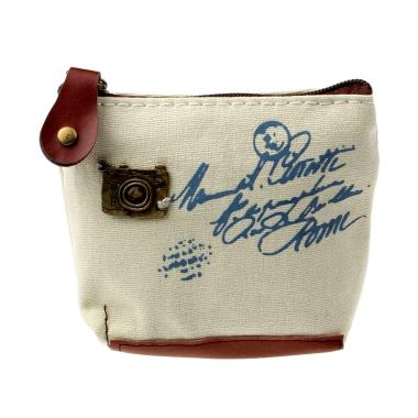 Lansdeal Lady Girl Retro Coin Bag Purse Wallet - Beige