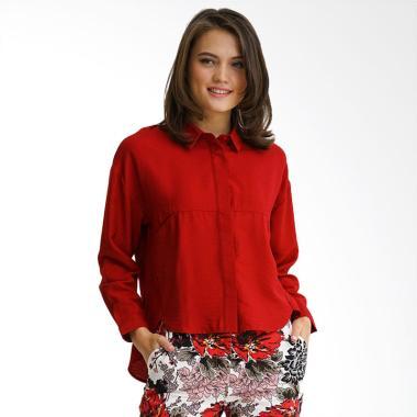 Minimal Shirt Cut & Sewn Detail Kemeja Wanita - Red Velvet