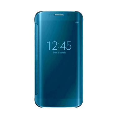 Wallet Mirror View Flip Cover Casing for Samsung Galaxy J7 Max - Biru