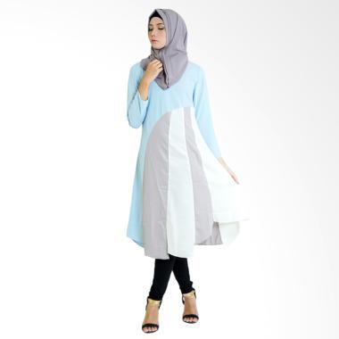 SYAHEERA Hijab Patchwork Tunik Muslim Wanita - Baby Blue