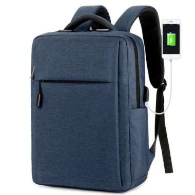 harga Tas Laptop Backpack Ransel Waterproof with USB Port 14 - 15.6 inch - Biru Blibli.com