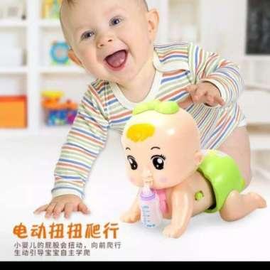 harga Mainan anak boneka dot bayi merangkak lengkap dengan suara+lampu - Ungu Hijau Blibli.com