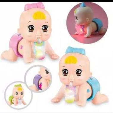 harga Mainan anak boneka dot bayi merangkak lengkap dengan suara+lampu - Ungu Merah Muda Blibli.com