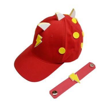 BoBoiBoy Halilintar Topi Anak Laki-laki - Merah + Free Wristband