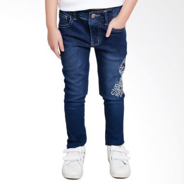 Versail Kids Junior Bordir Merak Celana Jeans Anak Perempuan - Blue