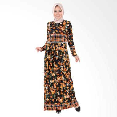 Jfashion Corak Bunga Maxi Long Dress Gamis - Aqilla Orange