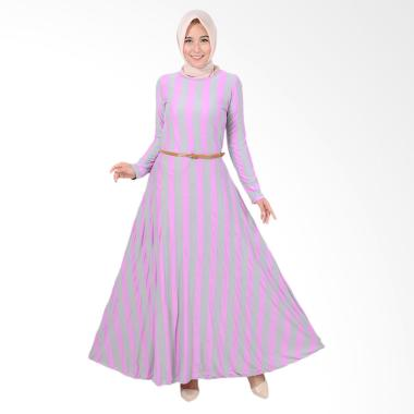 Jfashion Khanza Maxi Corak Salur Long Dress Gamis Wanita - Ungu