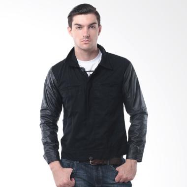 Alphawear Comby Korean Style Jaket Kulit Pria - Hitam