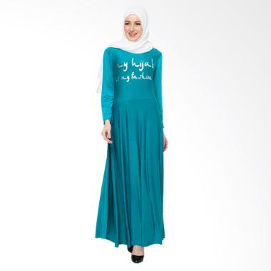 Jfashion Maxi Tangan Panjang Print  ...  Dress Gamis - Biru Tosca