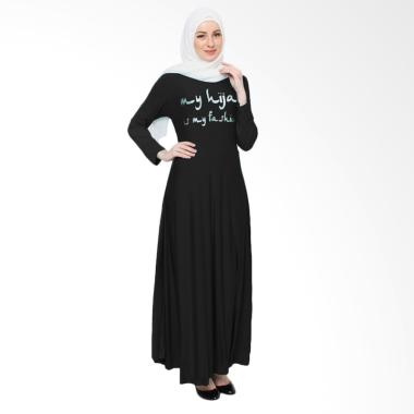 Jfashion Maxi Tangan Panjang Print  ...  Long Dress Gamis - Hitam