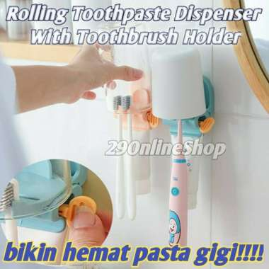 harga Dispenser penjepit jepitan odol putar roll pasta sikat gigi cup holder - Light Pink Berkualitas Blibli.com