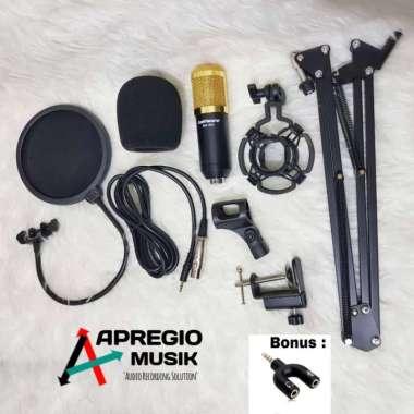 harga Jual paket lengkap mic condensor bm800 pop filter stand jepit spliter Diskon Blibli.com