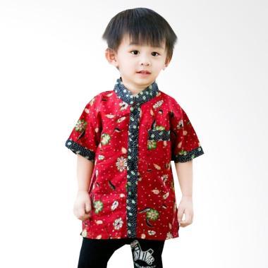 Welan batik Kaftan Motif LP010 Atasan Anak Laki-laki - Merah